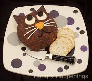 Halloween Cat Cheese Ball, recipe, party food